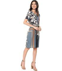 vestido manga corta casual estampado con flores multicolor realist