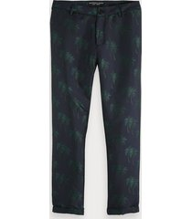 scotch & soda fave - broek met palmbomen in jacquard | regular tapered fit