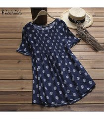 zanzea mujeres vintage retro pullover top tee camiseta algodón polka dot flare túnica blusa -azul marino