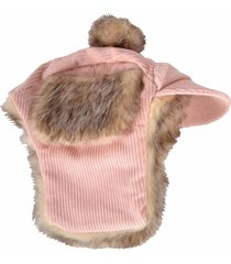 pet dog trapper hat faux fur lined pink corduroy winter clothes size xs/s