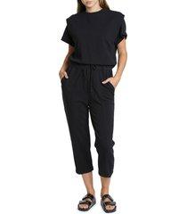 women's pistola clarisse shoulder pleat french terry jumpsuit, size small - black