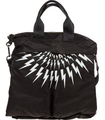 borsa uomo a mano in nylon thunderbolt fair-isle