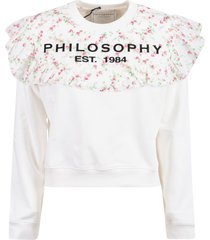 philosophy di lorenzo serafini floral asymmetric logo sweatshirt