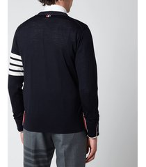 thom browne men's four-bar sleeve classic v-neck cardigan - navy - 4/xl