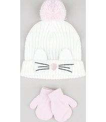 kit infantil de gorro gatinho com pompom e orelhas branco + luva em tricô rosa claro