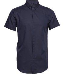 premium cotton dress s/s shirt overhemd met korte mouwen blauw superdry