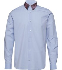 regular fit shirt with crunched check printed collar overhemd business blauw tonsure