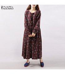 zanzea 2018 otoño floral de la vendimia impresión bolsillos o vestir de manga larga cuello de las mujeres ocasionales flojas a media pierna vestidos vestidos tamaño más rojas -rojo