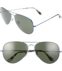 men's ray-ban 62mm aviator sunglasses - sand transparent grey