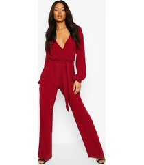 split sleeve wrap belted wide leg jumpsuit, berry