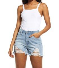 women's bp. picot trim cotton blend rib bodysuit, size x-small - white