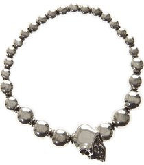 alexander mcqueen metal silver pearl skull bracelet