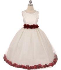 ivory dress burgundy ribbon sash floral tulle petals birthday flower girl dress