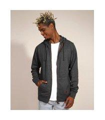 blusão de moletom básico com capuz e bolsos cinza mescla escuro