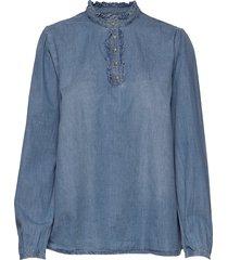 sandrinecr blouse blouse lange mouwen blauw cream