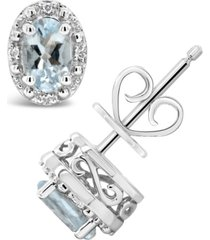 aquamarine (3/4 ct. t.w.) and diamond accent stud earrings in sterling silver