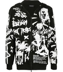 mauna kea hand drawing print hoodie - black
