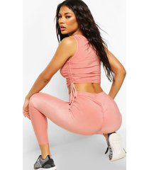 ruched bum booty boost legging, rose