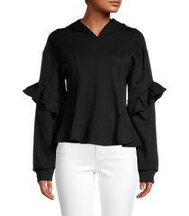 lea & viola women's ruffled cotton-blend hoodie - black - size xs