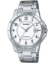 casio mtp-v004d-7b acero inoxidable análogo reloj para hombres