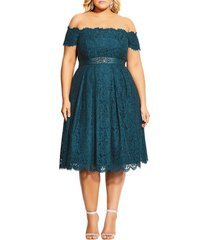 plus size women's city chic lace dreams off the shoulder cocktail dress