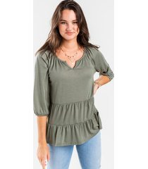 ellee tiered babydoll top - sage