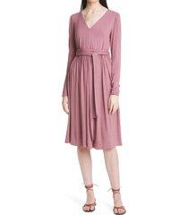 women's rebecca taylor long sleeve knit dress, size large - pink