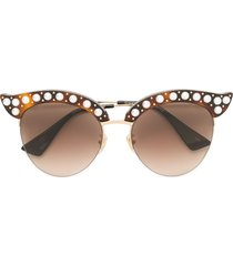 gucci eyewear pearl embellished sunglasses - brown