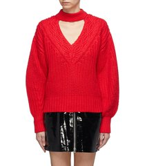 cutout v-neck cotton-wool mix knit sweater
