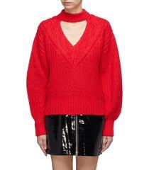 cutout v-neck cotton-wool mix knit sweater