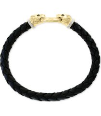 effy men's diamond leather cat head bracelet (1/4 ct. t.w.) in 14k gold