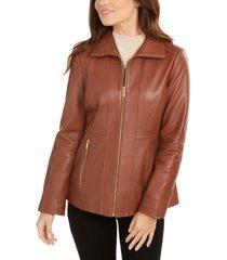 anne klein zip-front leather jacket
