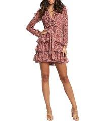 women's bardot alessia floral ruffle long sleeve mini dress, size x-small - pink