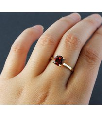 0.50 cttw round cut garnet solitaire engagement ring 18k yellow gold fn