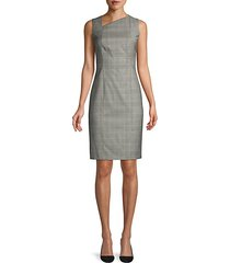 delray natural wool stretch check sheath dress