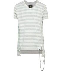 ron tomson men's striped chains v-neck step hem t-shirt - white - size xxxl