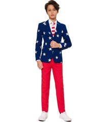 boy's opposuits stars & stripes two-piece suit with tie
