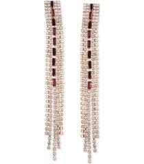 guess gold-tone crystal & burgundy stone fringe linear drop earrings