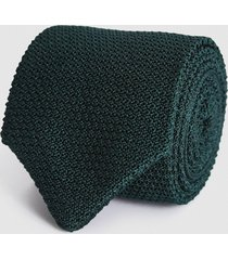 reiss jackson - silk knitted tie in emerald, mens