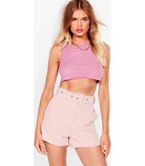 womens working on it belted shorts - rose