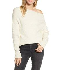 women's treasure & bond off the shoulder pullover, size large - beige