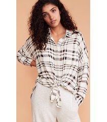 lou & grey textured plaid cozy tie front shirt