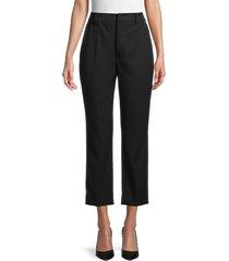 prada women's flat-front cropped wool pants - nero - size 38 (2)