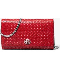 mk portafoglio con catena monogramme in pelle con borchie - cremisi (rosso) - michael kors