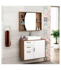 gabinete para banheiro com cuba e espelheira 80cm bosi duna nogal/branco