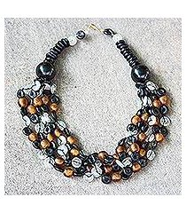recycled glass and ceramic torsade necklace, 'deka' (ghana)