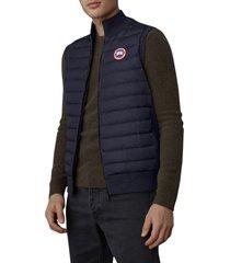 men's canada goose hybridge knit quilted down vest, size large - blue