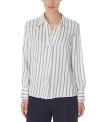 nine west striped collared top