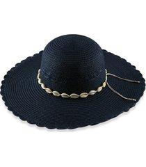 beach shells scalloped sun proof straw hat