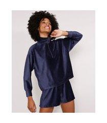blusa ampla de veludo gola alta com zíper azul marinho